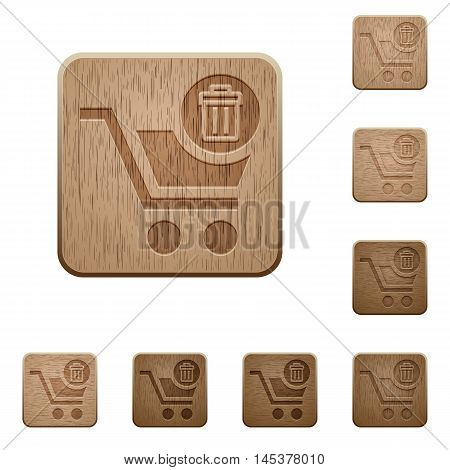 Set of carved wooden Delete from cart buttons in 8 variations.