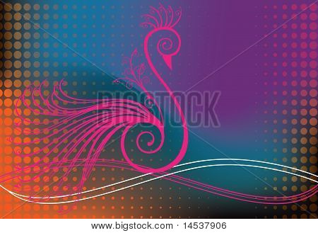 Peacock Or Bird In Swirls