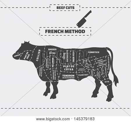 Cuts of beef. French method. Vector vintage monochrome illustration on a gray background.