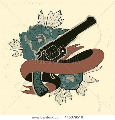 Vintage style emblem with human heart, flowers and a revolver. Vector illustration