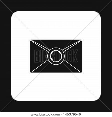 Letter with sealing wax icon in simple style isolated on white background. Message symbol