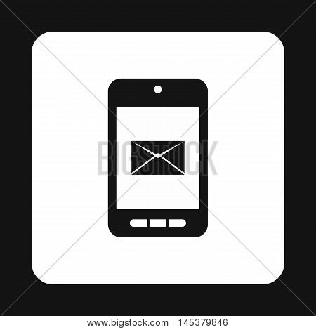 Writing e-mail on phone icon in simple style isolated on white background. Message symbol