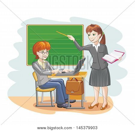 Vector cartoon illustration of a teacher and schoolboy about the chalkboard.