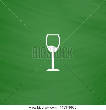 wineglass Simple line vector button. Imitation draw with white chalk on blackboard. Flat Pictogram and School board background. Outine illustration icon