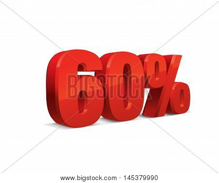60 percent off, sale background, red object 3D. Eps10 Vector.
