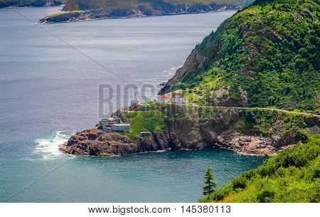 summer day over the coastline and cliffs of a Canadian National Historic Site, Fort Amherst in St John's Newfoundland, Canada.