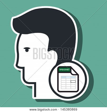 silhouette calculation sheet icon vector illustration icon