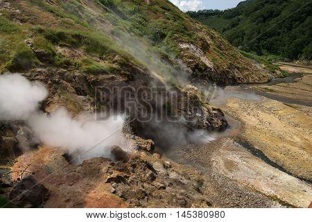 Bolshoy (large) Geyser erupting in Valley of Geysers, Kamchatka, Russia