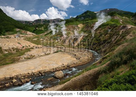 River running through Valley of Geysers, Kamchatka, Russia