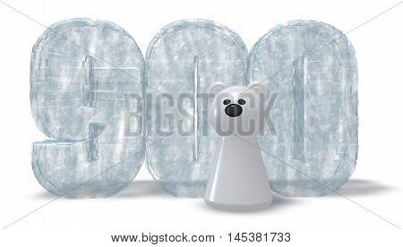 frozen number nine hundred and polar bear - 3d rendering