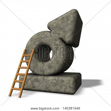 stone male symbol and ladder - 3d rendering