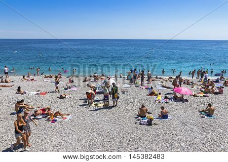 Crowded Beach In City Of Nice, France