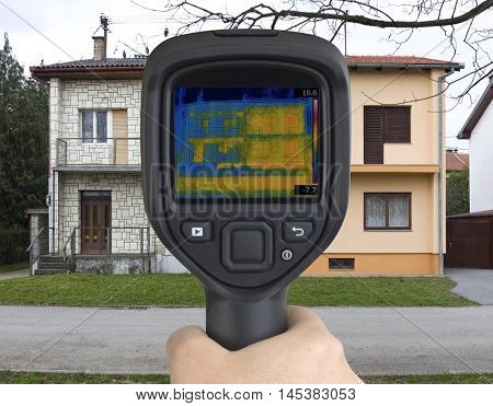 Thermal Image of Semi Detached Houses with Infrared Camera