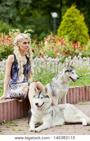 Young blond woman with two dogs Husky sits on low wooden fencing in summer park.