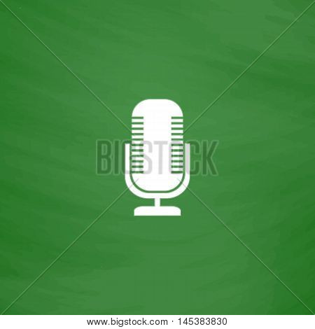 Microphone Simple line vector button. Imitation draw with white chalk on blackboard. Flat Pictogram and School board background. Outine illustration icon