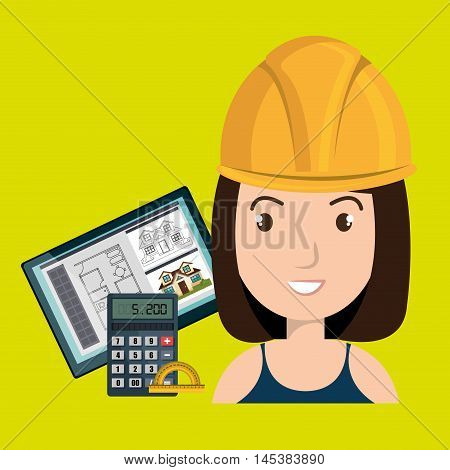 woman architect protractor vector illustration icon eps 10
