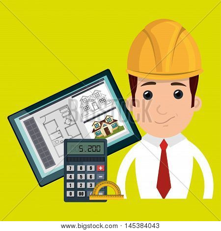 man architect protractor calculator vector illustration icon eps 10