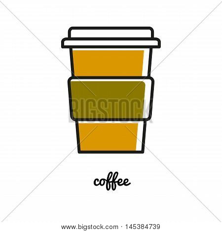 Disposable chot coffee cup line icon vector illustration
