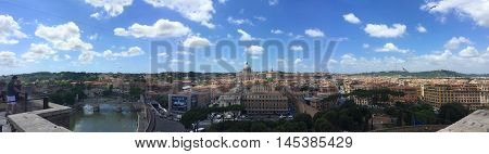 Panoramic view from atop the Castel Sant'Angelo of Rome, St. Peter's Basilica and Vatican City
