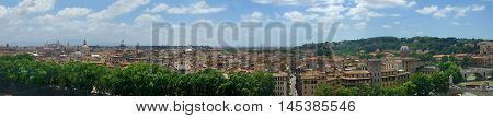 Panoramic view of Rome, Italy from the Castel Sant'Angelo