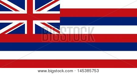 Flag of the US state of Hawaii in correct size proportions and colors. Accurate dimensions. Hawaiian official symbol. American patriotic element. USA banner. United States of America background. Vector illustration