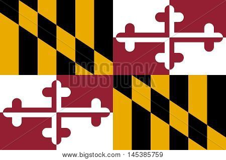 Flag of the US state of Maryland in correct size proportions and colors. Accurate dimensions. Maryland official symbol. American patriotic element. USA banner. United States of America background. Vector illustration