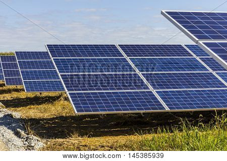 Solar Panel Farm. Corn Fields are Being Converted into Green Energy Areas Using Photovoltaic Cells IX