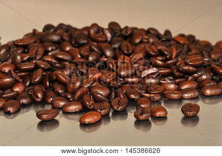 Scattered Coffee Beans Closeup