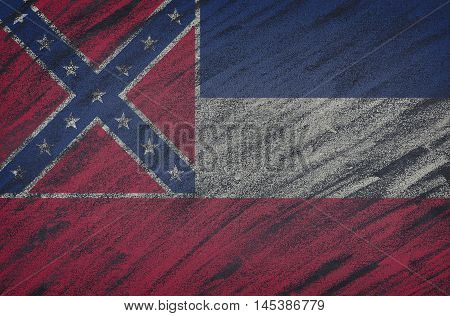 Mississippi Flag Painted With Colored Chalk On A Blackboard.