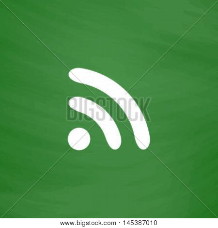 podcast Simple line vector button. Imitation draw with white chalk on blackboard. Flat Pictogram and School board background. Outine illustration icon