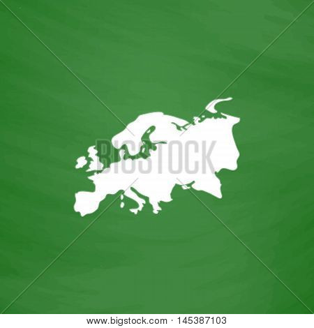 Eurasia Simple line vector button. Imitation draw with white chalk on blackboard. Flat Pictogram and School board background. Outine illustration icon