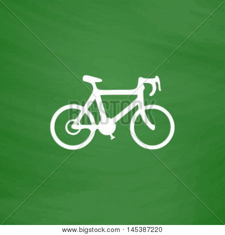 Bicycle Simple line vector button. Imitation draw with white chalk on blackboard. Flat Pictogram and School board background. Outine illustration icon