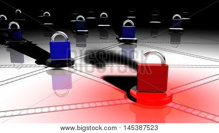 Network with small platforms and padlocks on top where one red lock is open on a node 3D illustration security concept