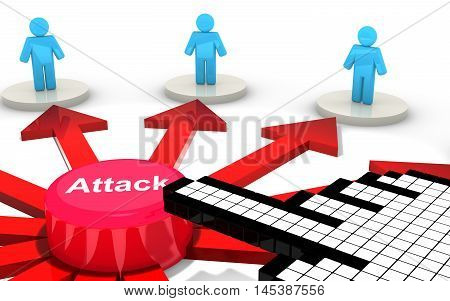 Cursor hand clicks on attack button to harm blue perks on white platforms social media security 3D illustration concept