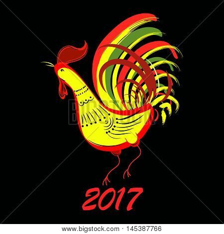 Color fire cock on black background looking at left. Chinese calendar Zodiac for 2017 New Year of rooster. Isolated vector silhouette made in folk style.