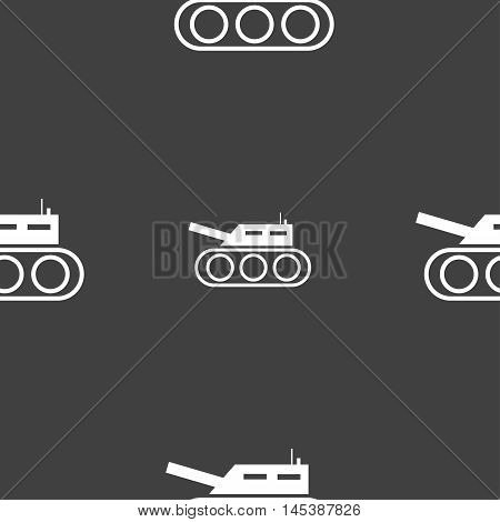 Tank, War, Army Icon Sign. Seamless Pattern On A Gray Background. Vector