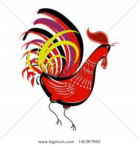 Color fire cock  on white background looking at right. Chinese calendar Zodiac for 2017 New Year of red rooster. Isolated vector silhouette made in folk style.