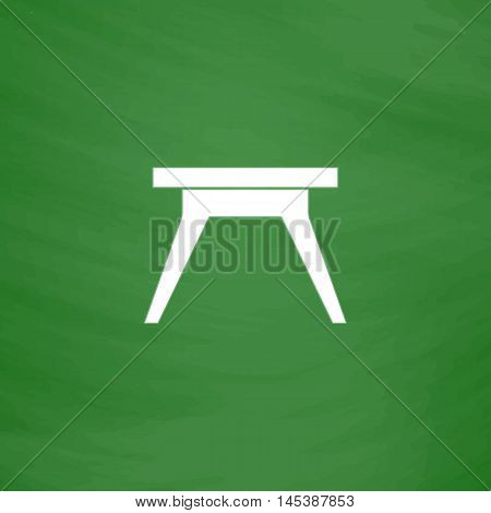Camping table Simple line vector button. Imitation draw with white chalk on blackboard. Flat Pictogram and School board background. Outine illustration icon
