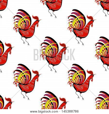 Seamless pattern with color fire cock on white background. Chinese calendar Zodiac for 2017 New Year of red rooster. Isolated vector silhouettes made in folk style.
