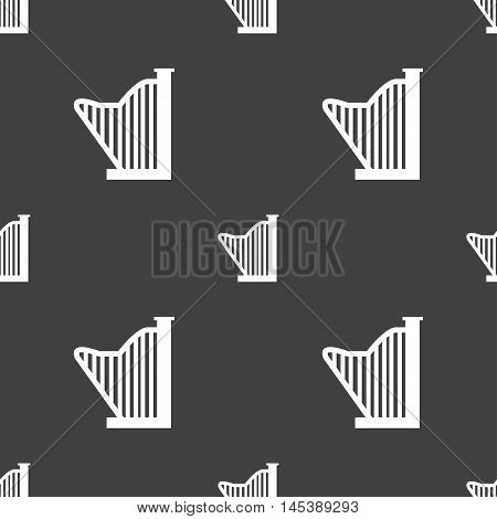 Harp Icon Sign. Seamless Pattern On A Gray Background. Vector