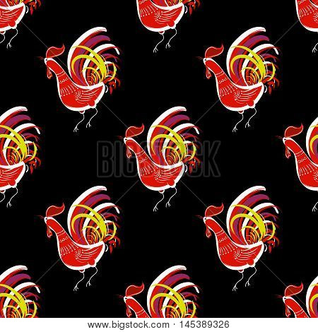 Seamless pattern with color fire cock  on black background. Chinese calendar Zodiac for 2017 New Year of red rooster. Isolated vector silhouettes made in folk style.