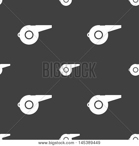 Whistle Icon Sign. Seamless Pattern On A Gray Background. Vector