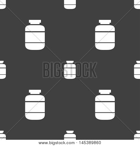 Medication Icon Sign. Seamless Pattern On A Gray Background. Vector