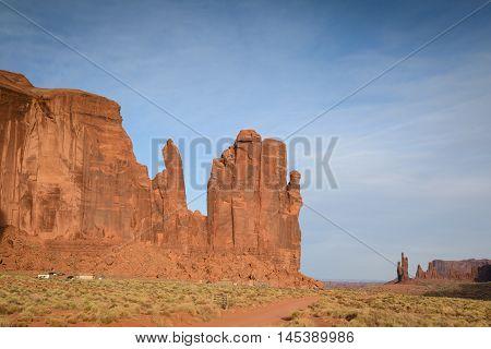 The mittens Mesa red rock at Monument Valley Navajo Tribal Park Arizona USA