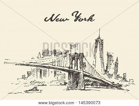 Manhattan bridge. New York United States. Vector illustration hand drawn sketch