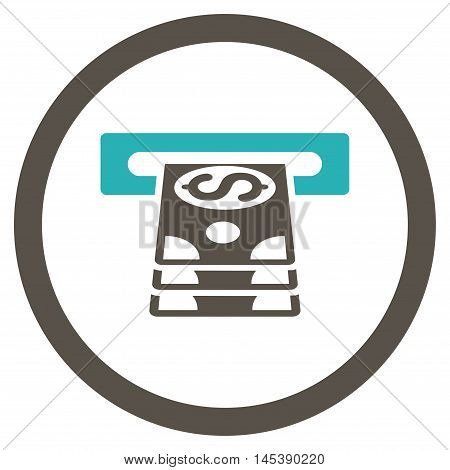 Bank Cashpoint rounded icon. Vector illustration style is flat iconic bicolor symbol, grey and cyan colors, white background.