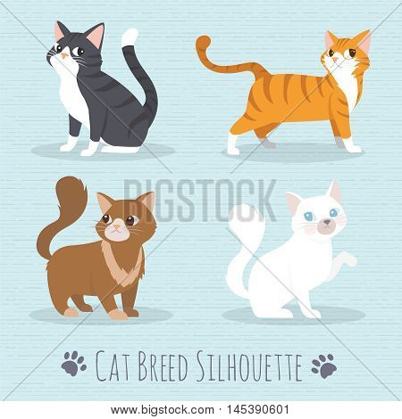 poster of Cat Set with white cat grey cat orange cat brown cat Cute cats flat icons. Vector Illustration Cartoon