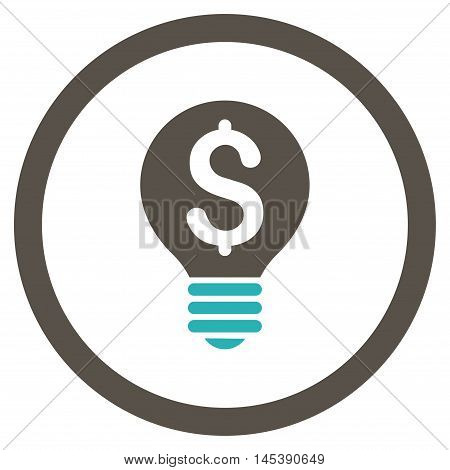 Business Patent Bulb rounded icon. Vector illustration style is flat iconic bicolor symbol, grey and cyan colors, white background.