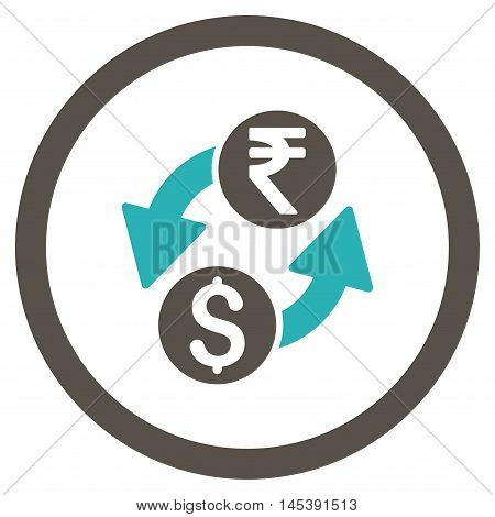 Dollar Rupee Exchange rounded icon. Vector illustration style is flat iconic bicolor symbol, grey and cyan colors, white background.