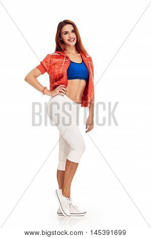 fitness woman. Young sporty Caucasian female model isolated on white background in full body